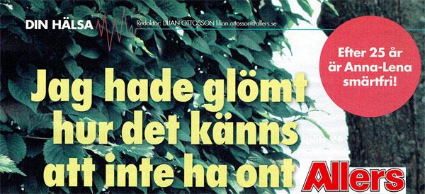 Tidningen Allers reportage om Annalena som gjort en ATtasbehandling
